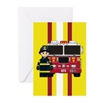 Firefighter and Fire Engine Card (Pk of 10)