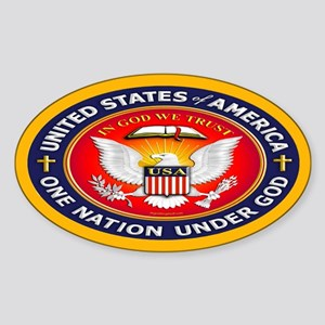 One Nation Under God Oval Sticker