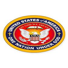 One Nation Under God Oval Sticker