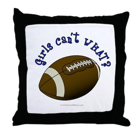Football - Blue Text Throw Pillow