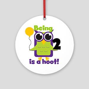 Hoot Owl 2nd Birthday Ornament (Round)