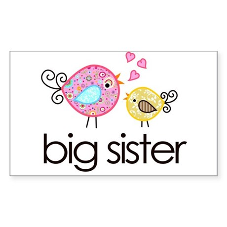 Whimsy Birds Big Sister Sticker (Rectangle)