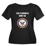 USS CARMICK Women's Plus Size Scoop Neck Dark T-Sh