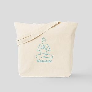 Namaste Teal Tote Bag