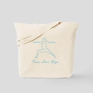 Peace Love Yoga Teal Tote Bag