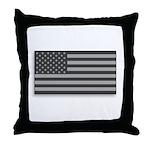 USA American Flag Gray Camo Throw Pillow