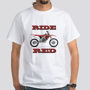 RideRed 08 White T-Shirt
