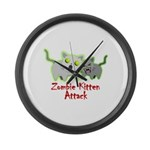 Zombie Kitten Large Wall Clock