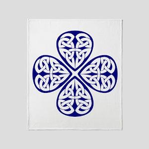 Navy Blue Shamrock Celtic Kno Throw Blanket