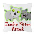 Zombie Kitten Woven Throw Pillow