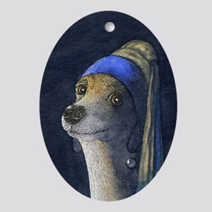 Dog with a pearl earring Ornament (Oval)