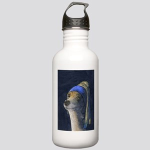 Dog with a pearl earring Stainless Water Bottle 1.