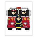 Firefighters and Fire Engine Small Poster
