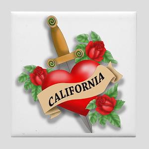 California Tattoo Tile Coaster