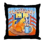 Tea for Me (Cat) Watercolor Throw Pillow