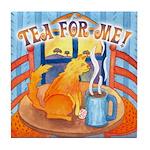 Tea for Me (Cat) Watercolor Tile Coaster