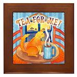 Tea for Me (Cat) Watercolor Framed Tile