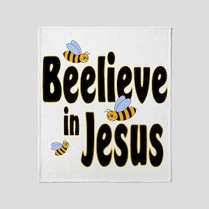 Beelieve in Jesus - Black Let Throw Blanket