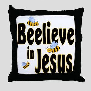 Beelieve in Jesus - Black Let Throw Pillow