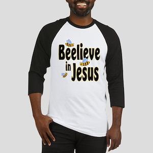 Beelieve in Jesus - Black Let Baseball Jersey