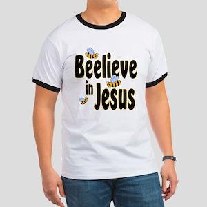 Beelieve in Jesus - Black Let Ringer T