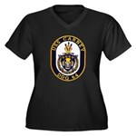 USS CARNEY Women's Plus Size V-Neck Dark T-Shirt