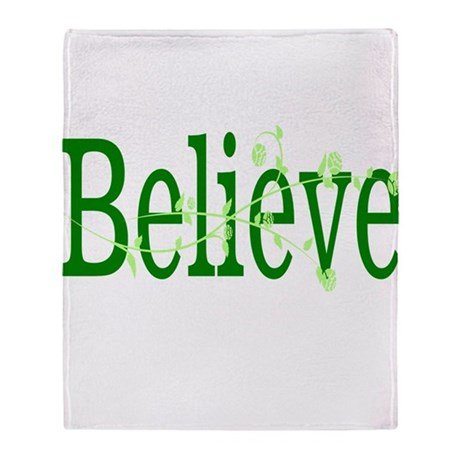 Green Believe with Green Rose Throw Blanket