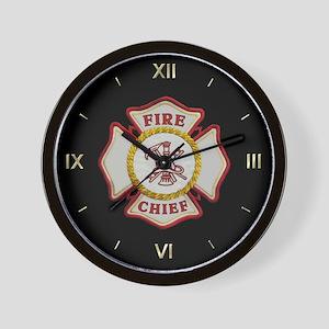 Fire Chief Maltese Wall Clock