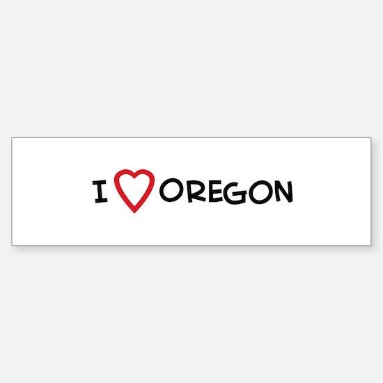 I Love Oregon Bumper Bumper Bumper Sticker