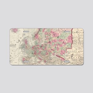 Vintage Map of Europe (1864 Aluminum License Plate
