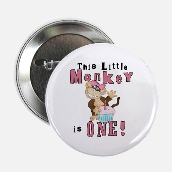 "Monkey 1st Birthday Pink 2.25"" Button"