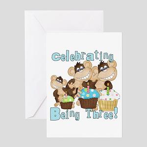 Monkey 3rd Birthday Blue Greeting Card