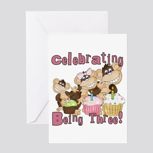 Monkey 3rd Birthday Pink Greeting Card