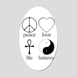 Peace Love Life Balance 22x14 Oval Wall Peel