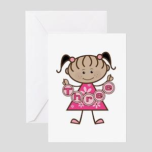 Little Girl 3rd Birthday Greeting Card