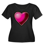 Heart Women's Plus Size Scoop Neck Dark T-Shirt