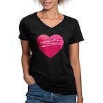 Heart Women's V-Neck Dark T-Shirt
