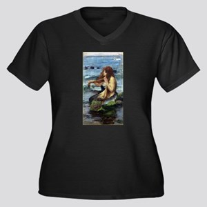 A Mermaid (study) Women's Plus Size V-Neck Dark T-