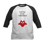 Owl be your valentine Kids Baseball Jersey