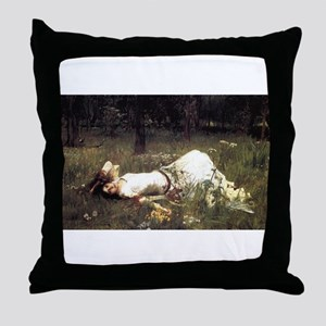 Ophelia Lying in the Meadow Throw Pillow