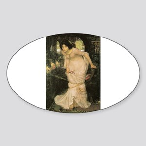 The Lady of Shalott Looking a Sticker (Oval)