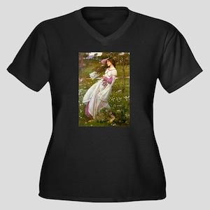 Windflowers Women's Plus Size V-Neck Dark T-Shirt
