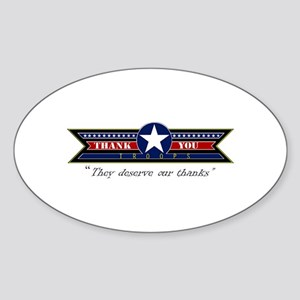 Thank You Troops Sticker (Oval)