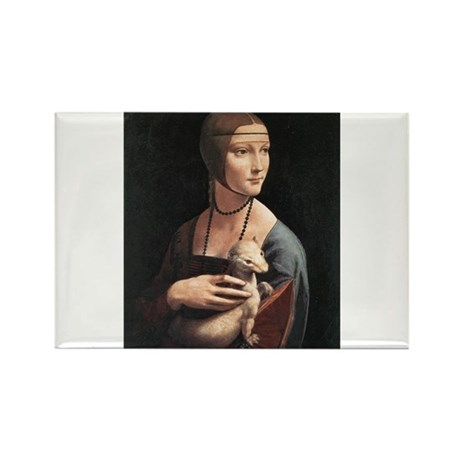 Lady with an Ermine Rectangle Magnet (10 pack)