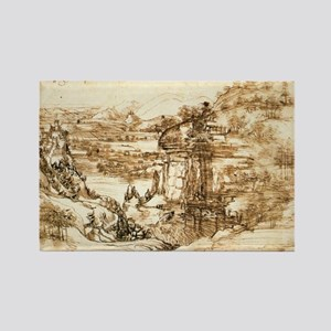 Landscape Drawing Rectangle Magnet