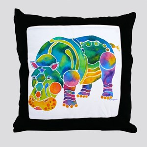 Best HIPPO in Many Colors Throw Pillow