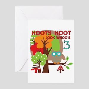 Hooty Hoot 3rd Birthday Greeting Card