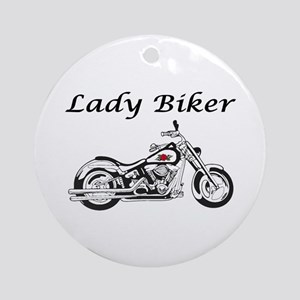Lady Biker I Ornament (Round)