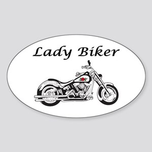 Lady Biker I Sticker (Oval)