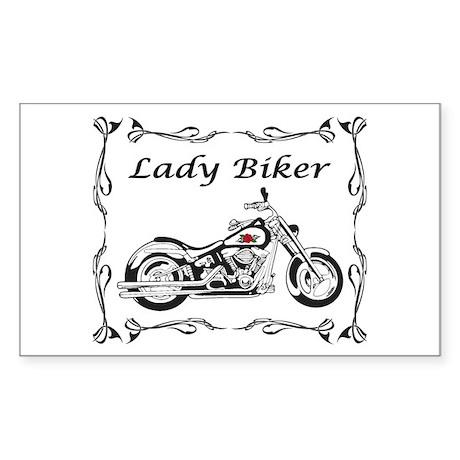 Lady Biker II Sticker (Rectangle)